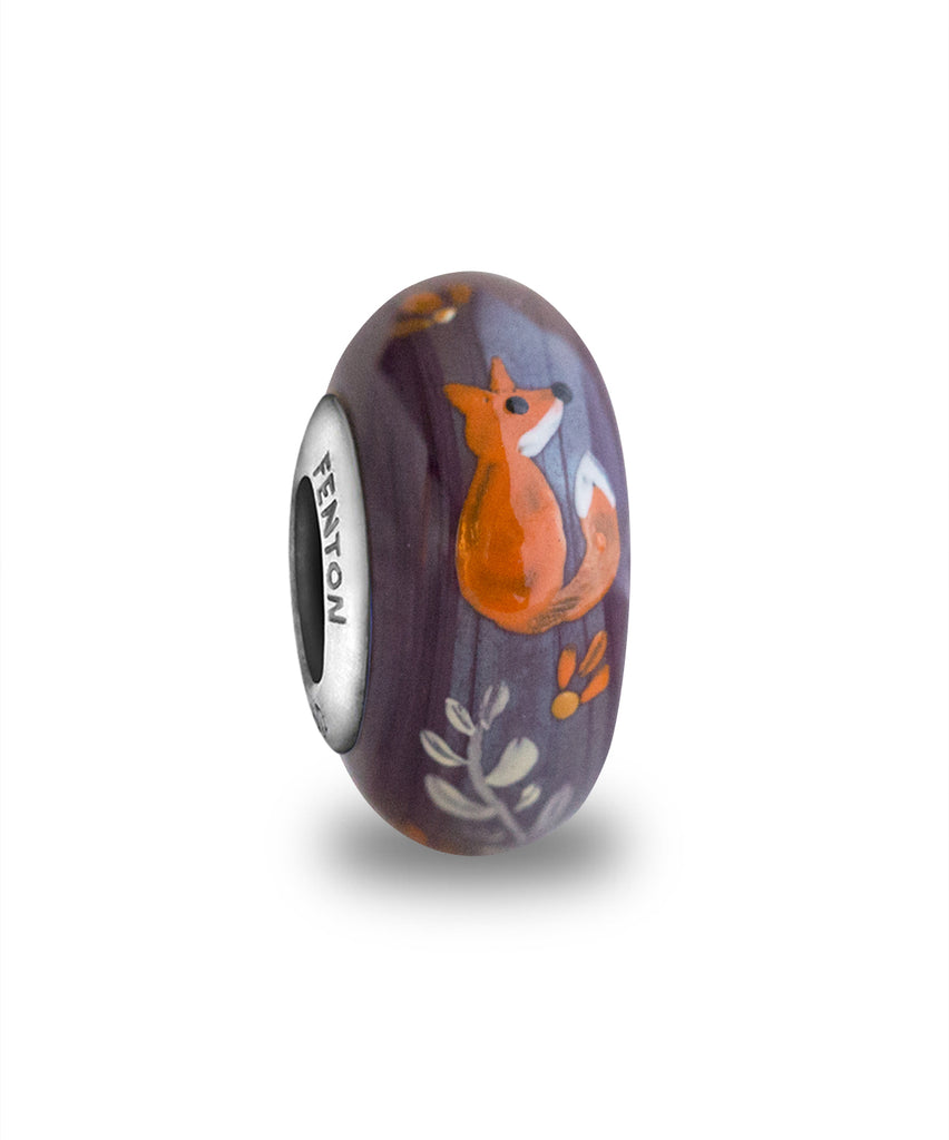 """Foxie"" Hand Decorated Glass Bead"