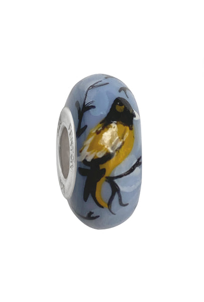 Frosted Finch Murano Glass Bead