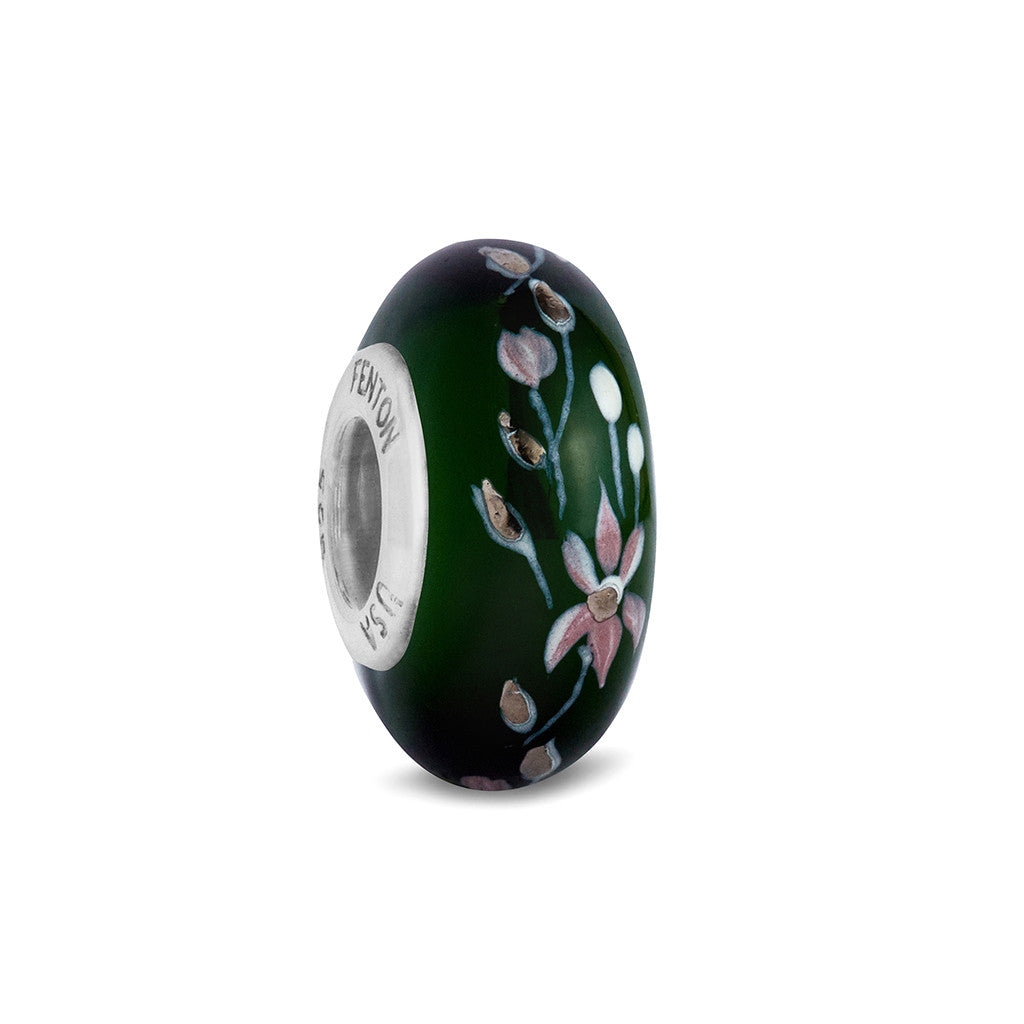 """Garden of the Heart"" Hand Decorated Glass Bead"