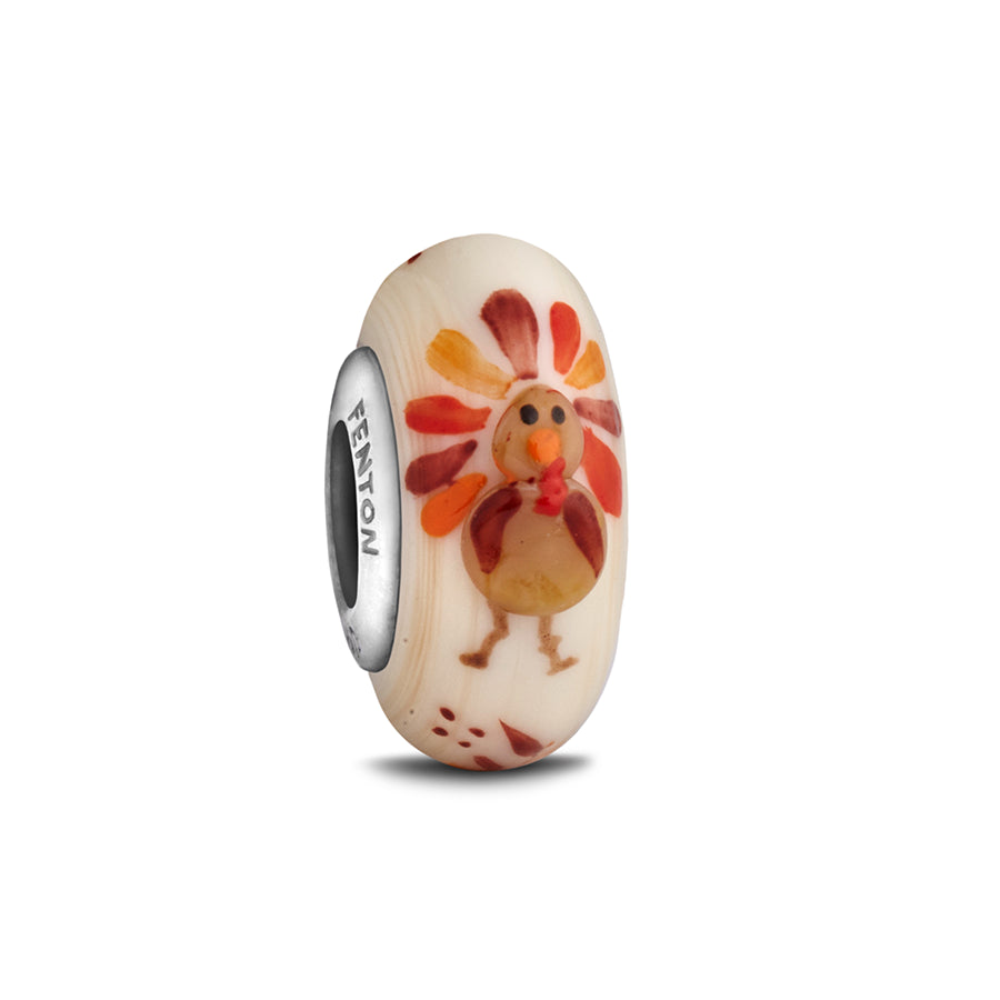 """Gobble, Gobble"" Whimsy Glass Bead - Fenton Glass Jewelry - 1"