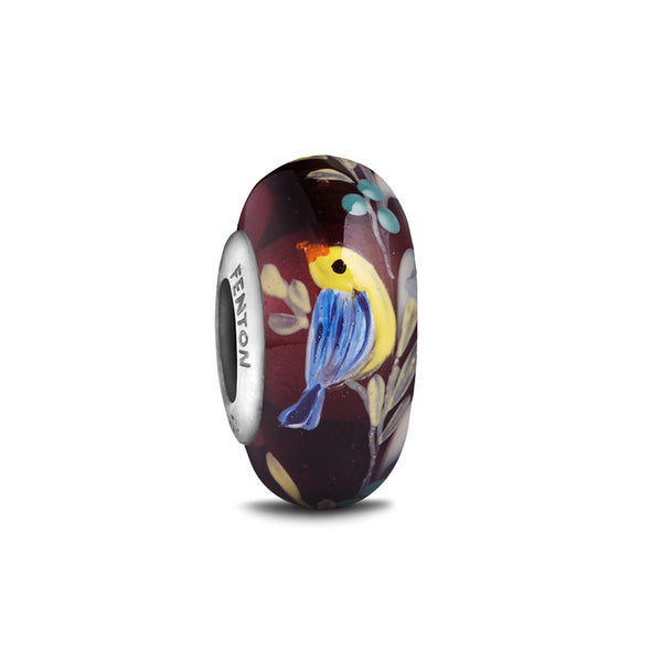 """Harvest Songbird"" Hand Decorated Glass Bead - Fenton Glass Jewelry"