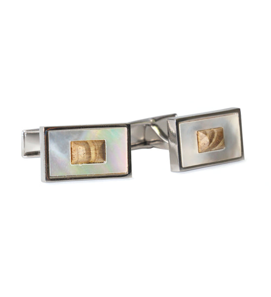 Mother of Pearl Cufflinks with Wooden Center