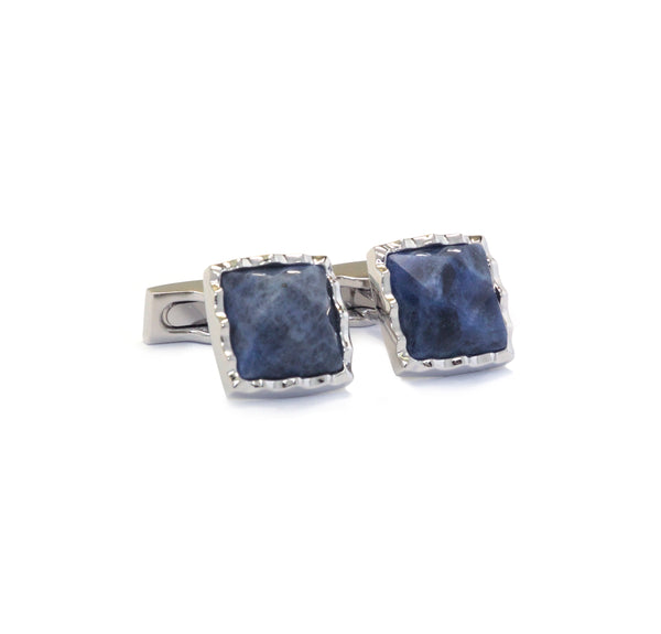 Blue Faceted Sodalite Cufflinks