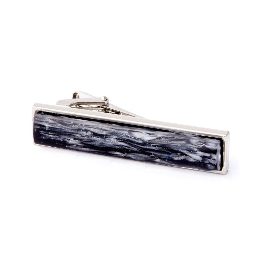 """Frozen Waters"" Glass Crafted Tie Bar"
