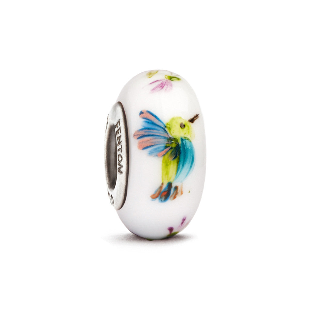"""Kaleidoscope Hummingbird"" Hand Decorated Glass Bead - Fenton Glass Jewelry"