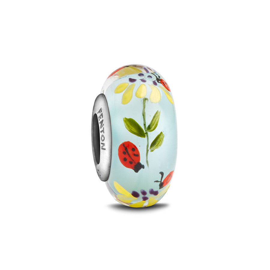 """Lady Bug Love"" Hand Decorated Glass Bead - Fenton Glass Jewelry"