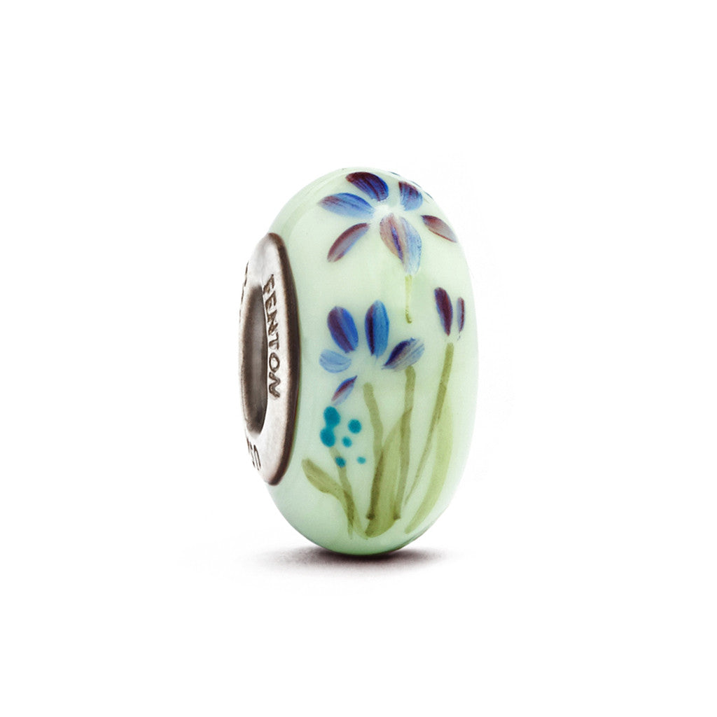 """Lady Iris"" Hand Decorated Glass Bead - Fenton Glass Jewelry"