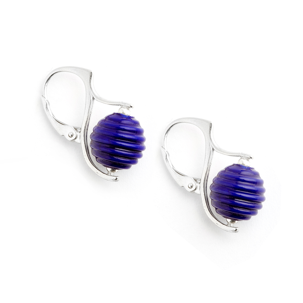 """Lapis"" Hive Earrings - Fenton Glass Jewelry"