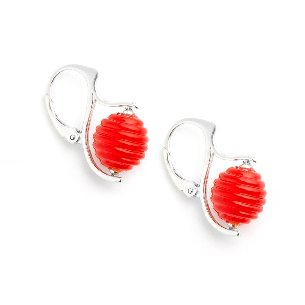 """Maraschino"" Hive Earrings - Fenton Glass Jewelry"