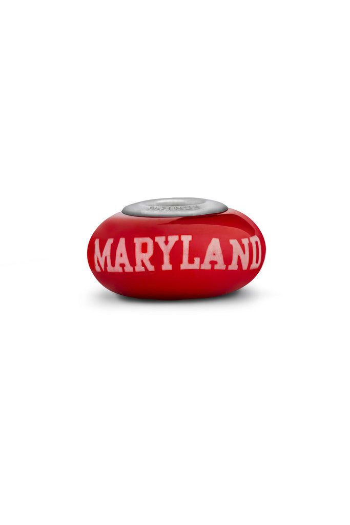 University of Maryland Red Art Glass Bead - Fenton Glass Jewelry - 1
