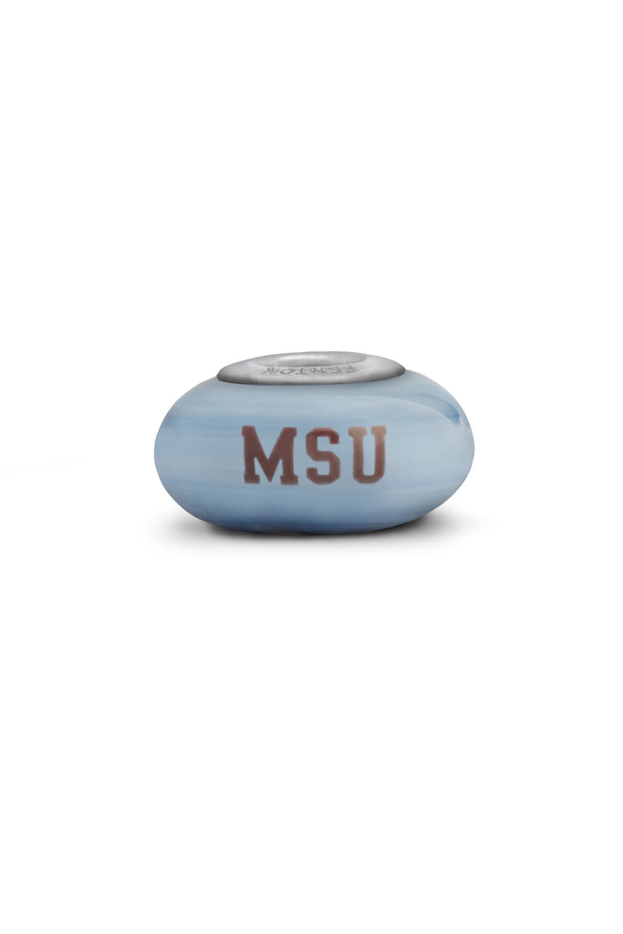 Mississippi State Collegiate Gray Glass Bead - Fenton Glass Jewelry - 1