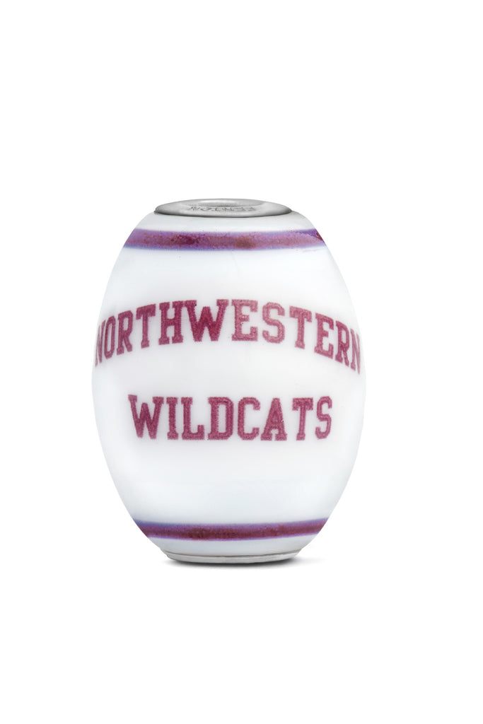 Northwestern University Milk Glass Cornerstone Bead - Fenton Glass Jewelry - 1