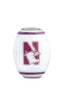 Northwestern University Milk Glass Cornerstone Bead - Fenton Glass Jewelry - 2