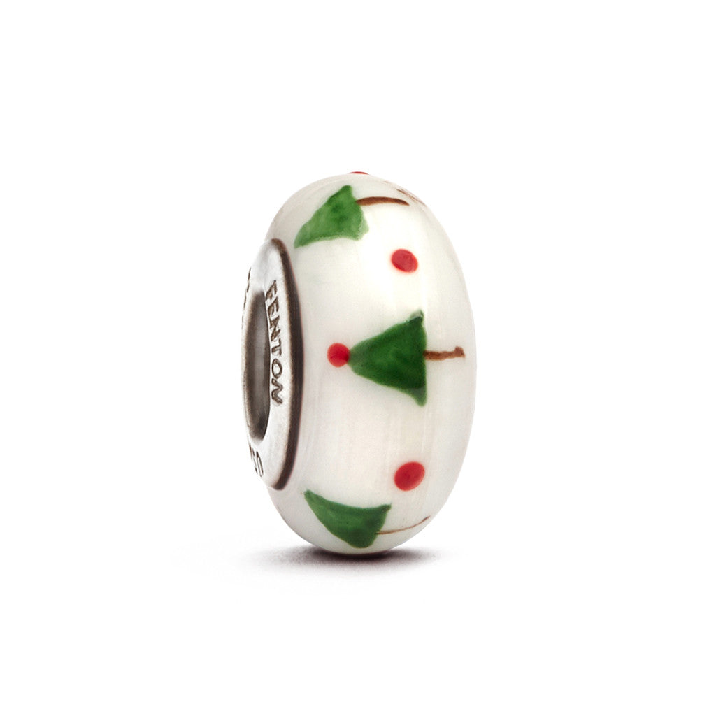 """Oh Christmas Tree"" Hand Decorated Glass Bead - Fenton Glass Jewelry"