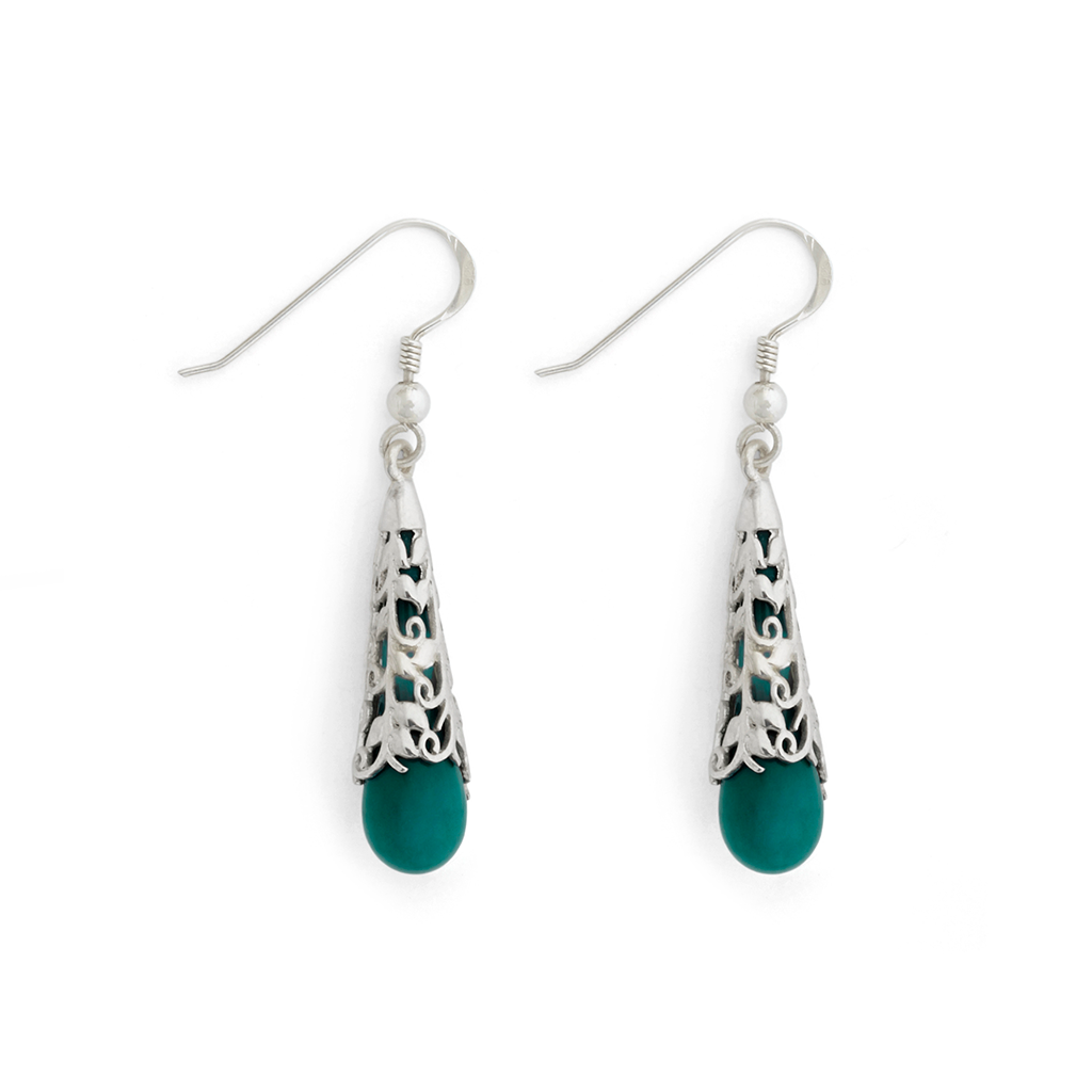 """Patina Green"" Vine Teardrop Earrings - Fenton Glass Jewelry"