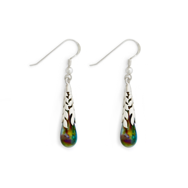 """Peacock"" Leaf Capped Teardrop Earrings - Fenton Glass Jewelry"