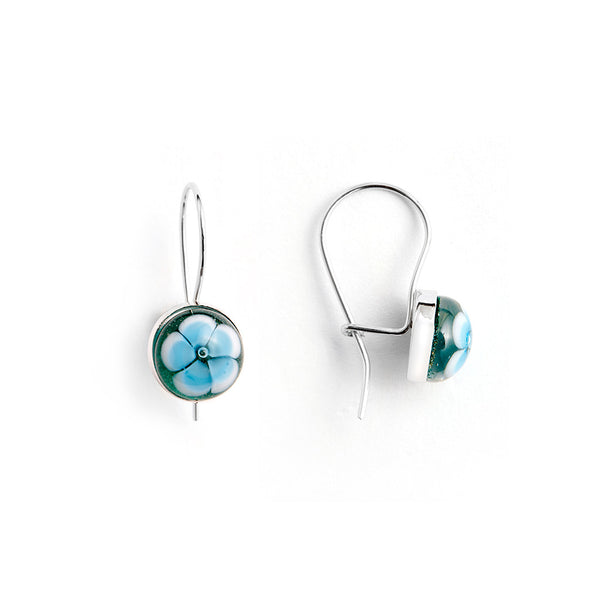 """Petal of the Lake"" Glass Crafted Glass Drop Earring"