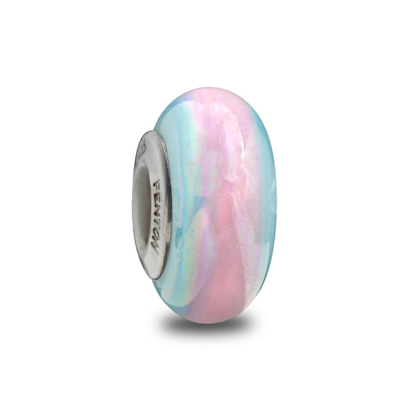 """Pink Candy Stripe"" Hand Decorated Bead"