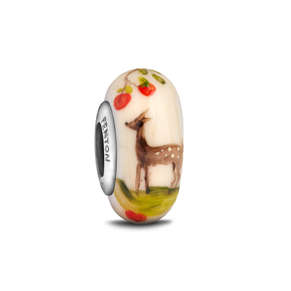 """Precious Fawn"" Hand Decorated Glass Bead - Fenton Glass Jewelry"