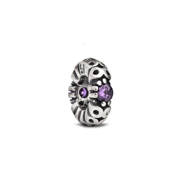 Purple Crystal Accent Spacer Bead - Fenton Glass Jewelry