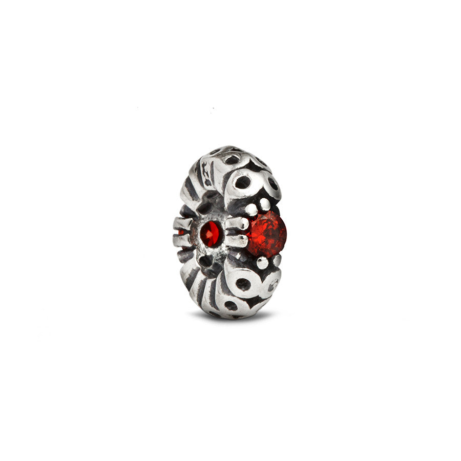 Red Crystal Accent Spacer Bead - Fenton Glass Jewelry