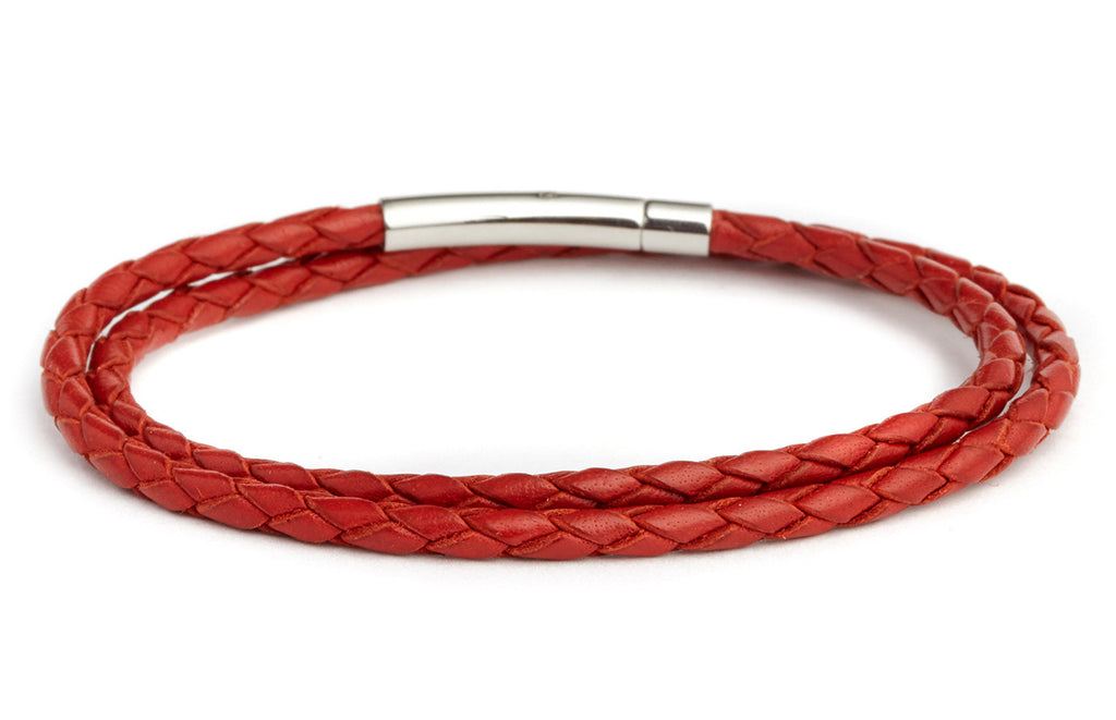 Braided Double Wrap Leather Bracelet in Red - Fenton Glass Jewelry