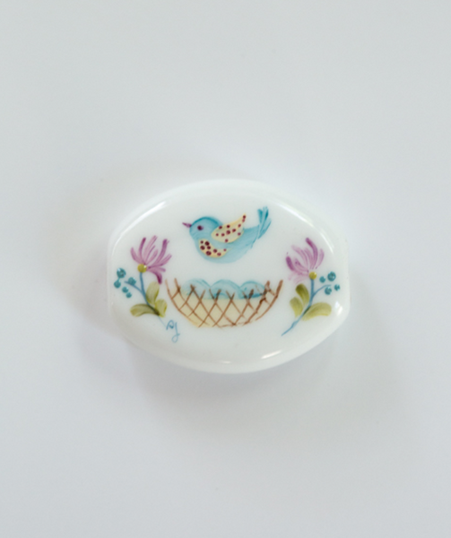 """Calico Bird"" Flattened Cornerstone Hand Decorated Bead"