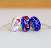 """Red, White, & WOO HOO"" Hand Decorated Bead"