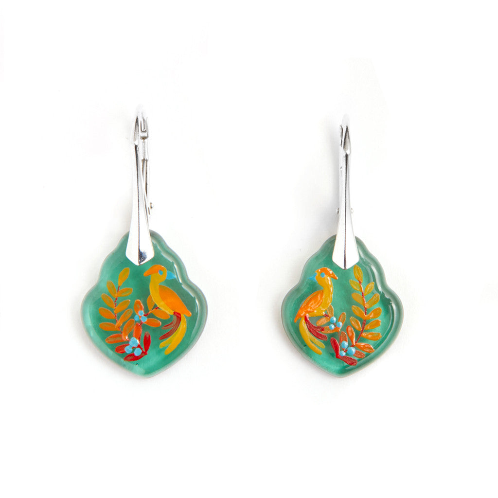 """Song Bird"" Hand Decorated Earrings"