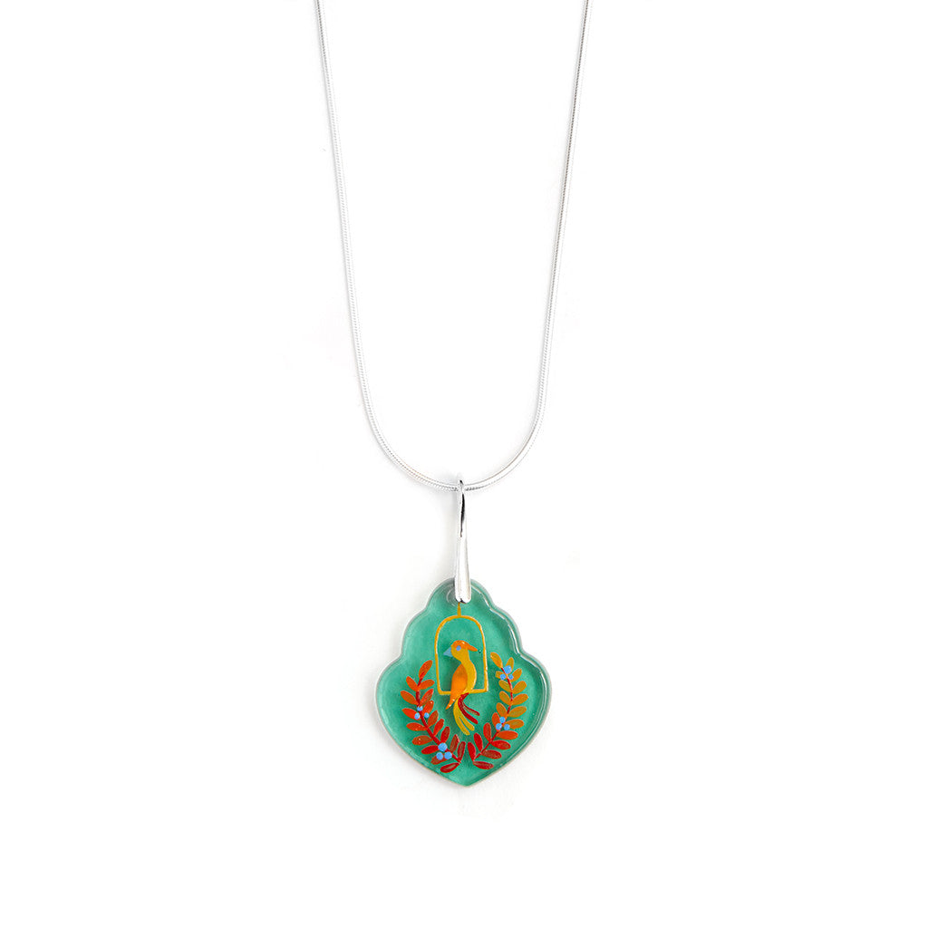 """Song Bird"" Hand Decorated Pendant Necklace"