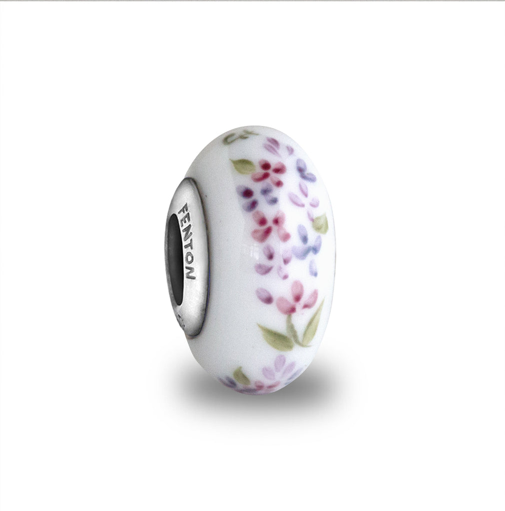 """Springtime Lilacs"" Hand Decorated Glass Bead"
