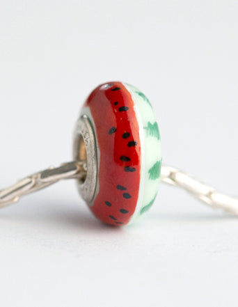 """Watermelon"" Hand Decorated  Bead"