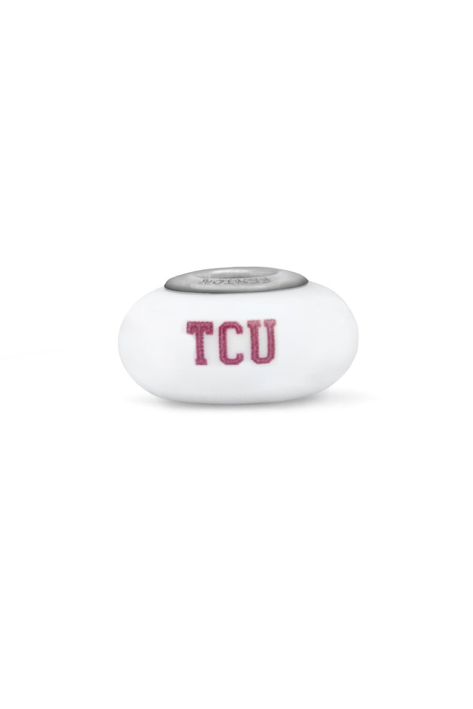 Texas Christian University Milk Glass Bead - Fenton Glass Jewelry - 1
