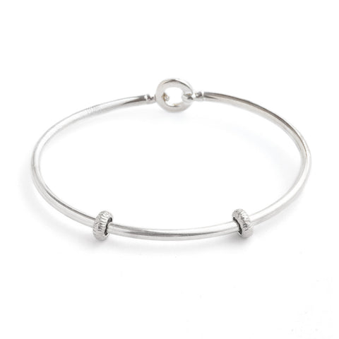 Sterling Silver Bangle Bracelet with Stoppers