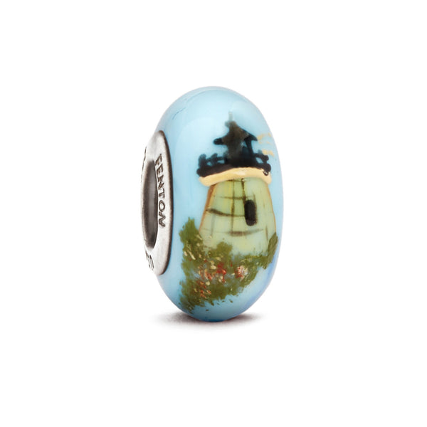 """Castle Hill Lighthouse"" Hand Decorated Glass Bead - Fenton Glass Jewelry"