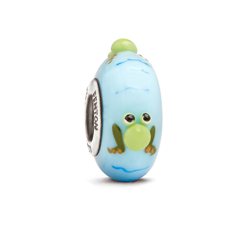 """Rrrribbit"" Whimsy Hand Decorated Glass Bead"