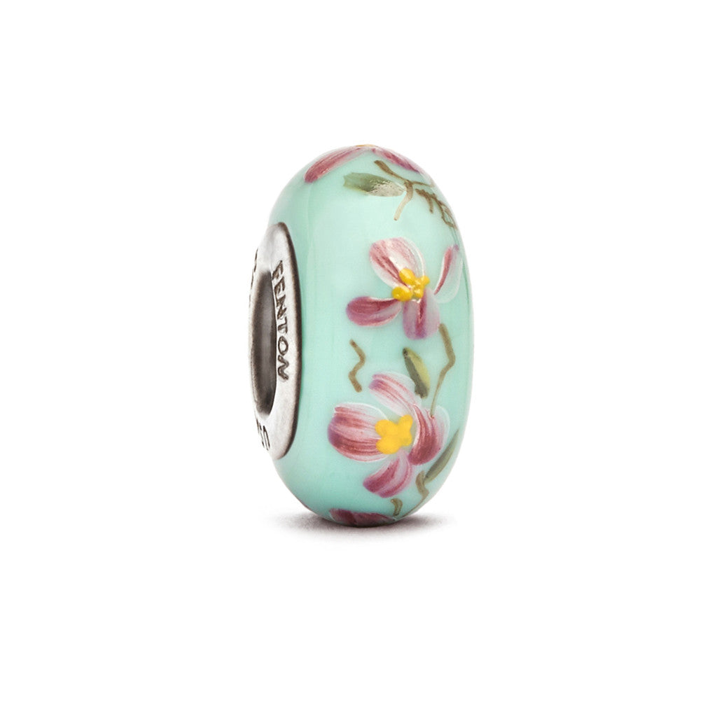 """Overture to Spring"" Hand Decorated Glass Bead - Fenton Glass Jewelry"