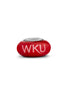 Western Kentucky University Red Glass Bead - Fenton Glass Jewelry - 1