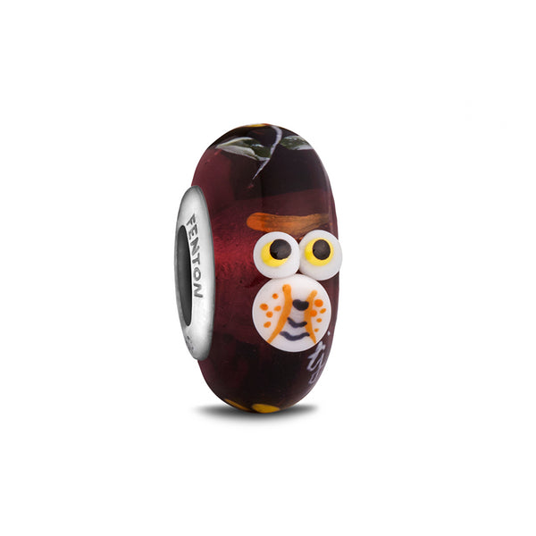 """Whooo!"" Whimsy Glass Bead - Fenton Glass Jewelry - 1"