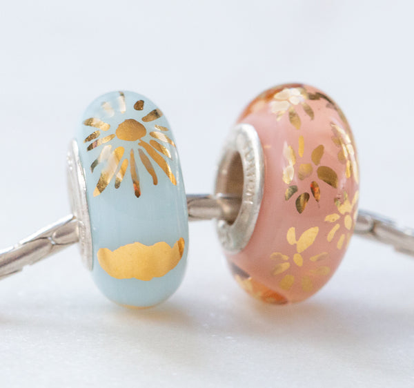"""April Showers & May Flowers"" Hand Painted Bead Set"