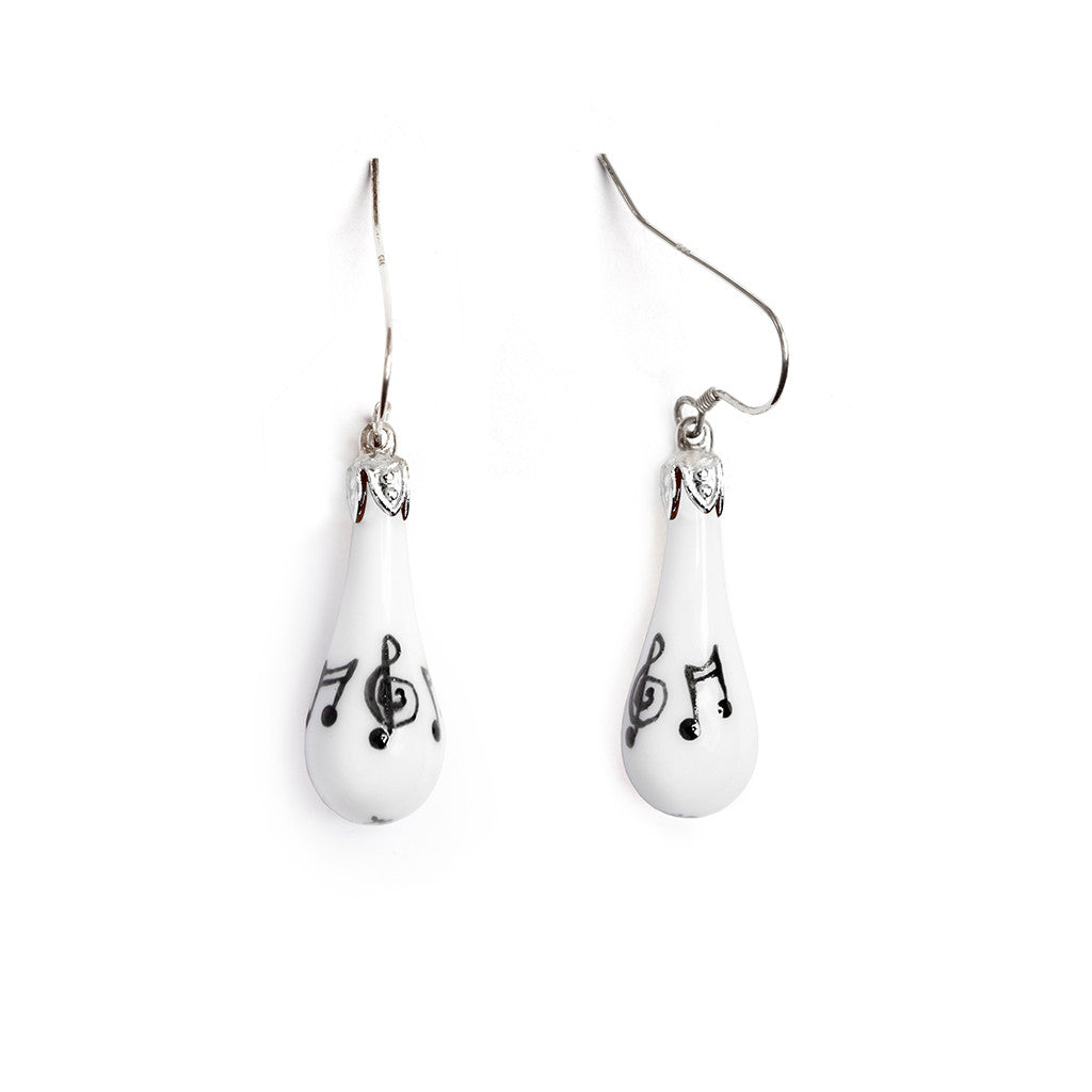 """Sweet Melody"" Teardrop Earrings - Fenton Glass Jewelry"