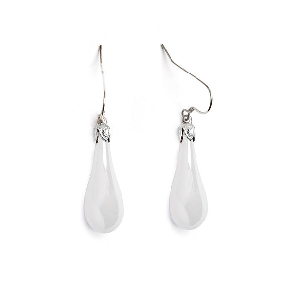 Milk Glass Iridized Teardrop Earrings - Fenton Glass Jewelry