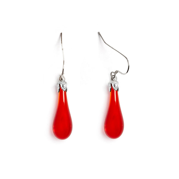 Maraschino Cherry Teardrop Earrings - Fenton Glass Jewelry