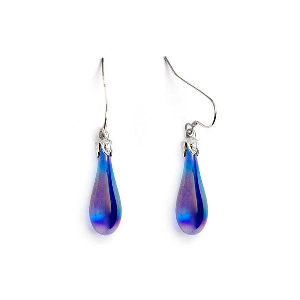 Cobalt Iridized Teardrop Earrings - Fenton Glass Jewelry