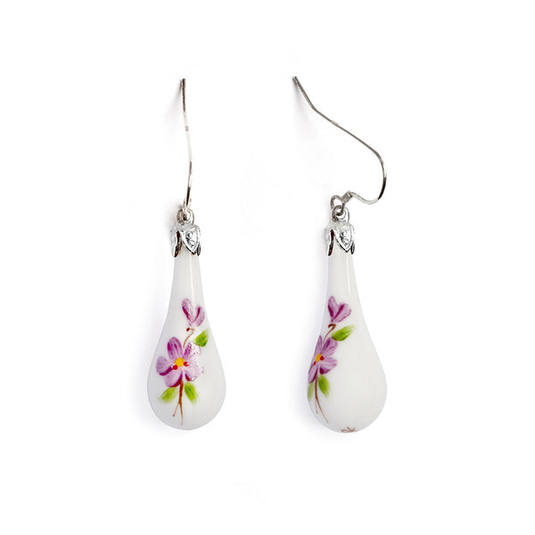 """Violets in the Snow"" Teardrop Earring - Fenton Glass Jewelry"