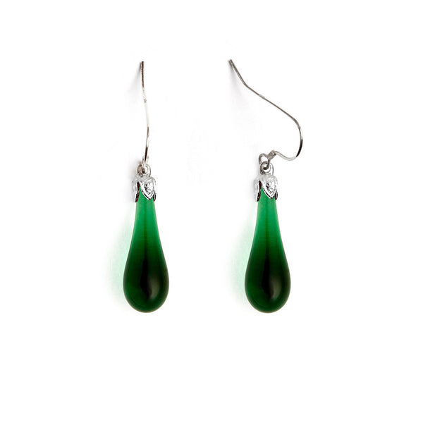 Emerald Teardrop Earrings - Fenton Glass Jewelry