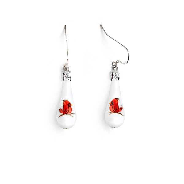"""Baby Cardinal"" Teardrop Earrings - Fenton Glass Jewelry"