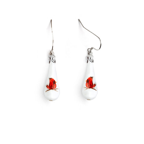"""Baby Cardinal"" Teardrop Earrings"