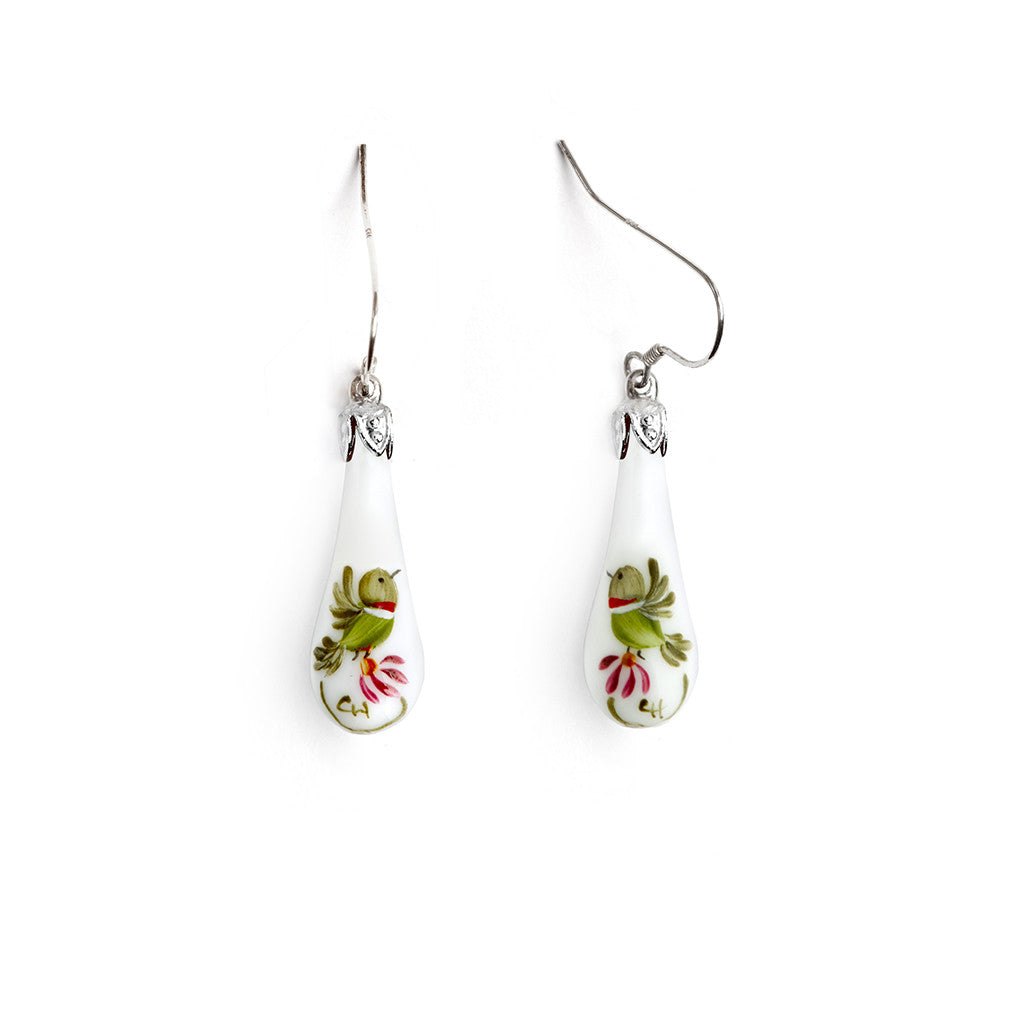 """Hummingbird Minuet"" Teardrop Earrings - Fenton Glass Jewelry"