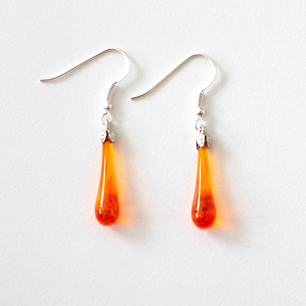 """Orange"" Teardrop Earrings"